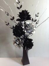 Artificial Silk Flower Arrangement Silver & Black In Slim Black Vase