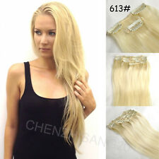 "7Pcs/Set Clips In on Remy Real 100% Human Hair Extension 14""-30"" 15colors"