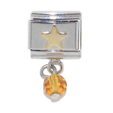 Gold coloured star dangle Italian Charm -fits 9mm classic Italian charm bracelet