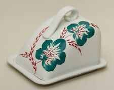 Radford Hand Painted Vintage cheese butter wedge dish & lid Turquoise red floral