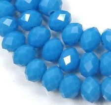 25 Czech Glass Faceted Rondelle Beads - deep blue Turquoise 8x5mm