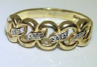 A FINE 9CT 9KT YELLOW GOLD DIAMOND CHAIN LINK ETERNITY WEDDING RING  O