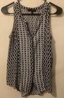 Sanctuary - Button Up Sleeveless Tank Top/Blouse - Women's Size XS - Grey/Black