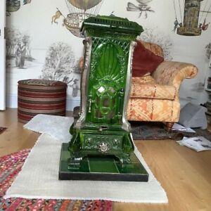 Deville Monopole 114 Art Nouveau Stove, Green, Ceramic, French, Antique