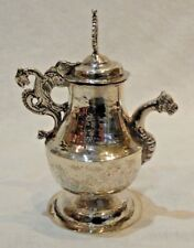 Colonial Hand Hammered Silver Church Water Cruet with Dragon Handle & Spout