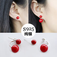 Pair Fashion Women's Silver Coral Red Shell Pearl Ear Stud Earring