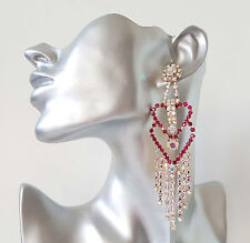 Stunning 11.5cm long gold tone & PINK & AB diamante - crystal drop earrings #90
