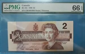 1986 BANK OF CANADA $2 **Bonin & Thiessen** PMG66 EPQ GEM UNC <BC-55c>