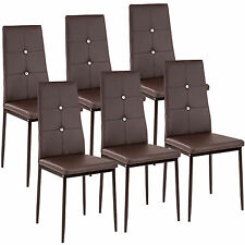 6 Modern dining chairs dining room chair table faux leather furniture cozy brown