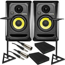"KRK RP4G3 ROKIT 4 G3 4"" Studio Monitor Pair Black + Stands + Cables + Pads"