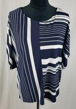 Chico's women medium black white boxy short sleeve shirt striped