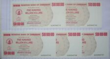 5x500,000,000 (500 Million) Zimbabwe Dollar~Bearer Cheques~UNC~Consecutive No's
