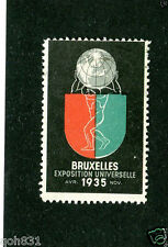 Vintage Poster Stamp BRUXELLES EXPOSITION UNIVERSELLE Worlds Fair 1935 Brussels