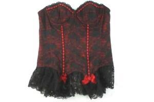 Fredricks Of Hollywood Corset Dress Lingerie Black Red Women's Sz 38