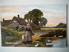 The Duck Pond Old Postcard Woman Child Old Cottage Commercial JWB Series 310