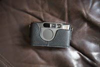Handmade Genuine Real Leather Half Camera Case Bag Cover for Contax T2 Black