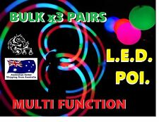 3 pairs LED Glow POI multifunction, soft ball, bright full colour, strobe fire