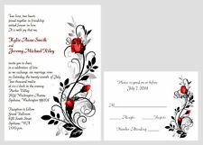 100 Personalized Red Black Rose Swirl Bridal Wedding Invitations Set RSVP Cards