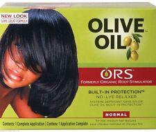 Estimulador de raíces orgánico (ors) aceite de oliva relajador de cabello sin lejía normal todo en uno