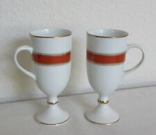 Fitz & Floyd 1980's Renaissance Orange Demitasse Footed Cup Set of 2