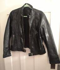 GAP * Black * Genuine Leather * Motorcycle Moto Jacket * Biker * L