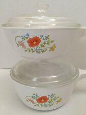 2 Vtg 1970s Corning Ware Spring Bouquet Wild Flowers Saucepans w/lids Skillets