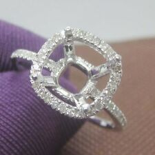 8x8mm Cushion Cut Solid 14kt White Gold Natural Diamond Semi Mount Ring
