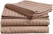 8,10,12,15 Inch Deep Pkt Taupe Striped Bedding Items 1000TC Egyptian Cotton