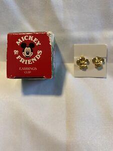 Vintage 1990 Girl's AVON MICKEY MOUSE Clip On  Earrings Gold Tone NIB CUTE