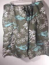 Columbia PFG men's fishing Board shorts size 36 green blue white omni shade EUC