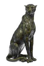 100% Bronze  Black Panther cat Cheetah lion sculpture Statue Figurine Hot Cast