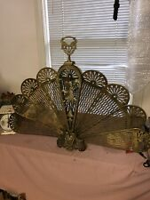 Vintage Antique Ornate Brass Peacock Fireplace Fan Folding Screen Lady Art Deco
