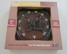 """KOCH Suncatcher Dial Thermometer Butterfly Handcrafted 10"""" Solid Glass Dial"""