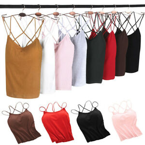 Women Spaghetti Tank Tops Sexy Back Cross Padded Camisole Vest for Sports OK