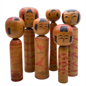 Set of Six Traditional Hand-Painted Japanese Kokeshi Dolls. Signed. 20th century
