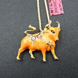 Hot Orange Enamel Animal Bull Pendant Betsey Johnson Long Necklace/Brooch