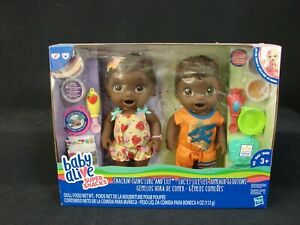 Baby Alive Super Snacks Snackin' Twins Luke and Lily African American New Hasbro