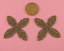 Lovely Ant Brass 4 Petal Beaded Floral Filigree - 1 Pc(s)