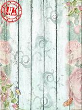 En Bois Blanc Fleurs Floral Toile de Fond Fond Vinyle Photo Prop 5X7FT 150CMx220CM