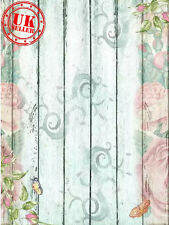 WHITE WOOD FLOWERS FLORAL BACKDROP BACKGROUND VINYL PHOTO PROP 5X7FT 150CMx220CM
