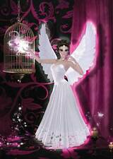 Pink Angel Birthday Card for girls magical cerise-pink/black