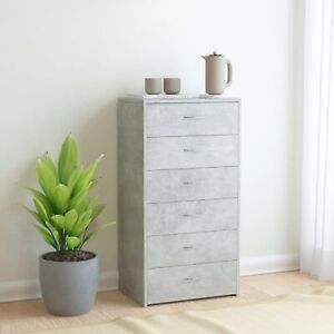 """vidaXL Sideboard with 6 Drawers Concrete Gray 23.6""""x13.4""""x37.8 Chipboard"""
