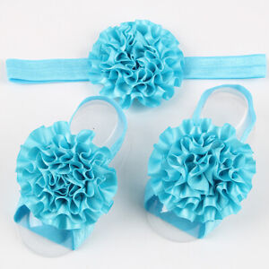 Newborn Baby Girl Kids Infant Headband Foot Flower Elastic Hair Band 3 Pcs/Set B