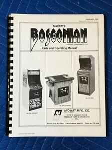 Original Midway Bosconian Video Arcade Game Parts Operating Manual Schematics