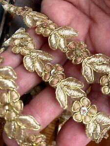 """Appliques Trim Gold Toffee Champagne Embroidered Flower Beads Sequins 42"""""""