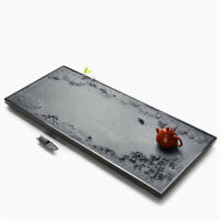 China black stone tea tray handmade carved landscape relief 60cm water draining