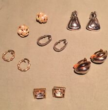 & Gold Tone Clip Earrings Lot Of 6 Vintage Silver