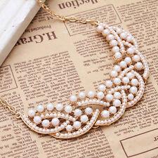 Fashion Jewelry Imitation Pearl Hollowed Golden Choker Bib Collar Necklace Chain