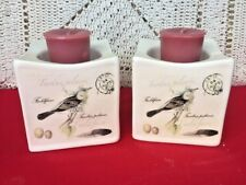 SET of 2 Tealight Candle Holders FIELDFARE Thrush Birds Fit YANKEE SCENTSY ❤️J8