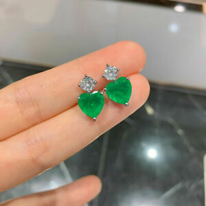 3Ct Heart Cut Green Emerald Diamond Solitaire Stud Earrings 14K White Gold Over